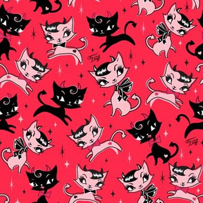 Small-Devilish Kitties Red
