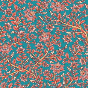 Flower branches on turquoise background.