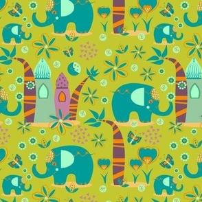 Elephants Lime Green