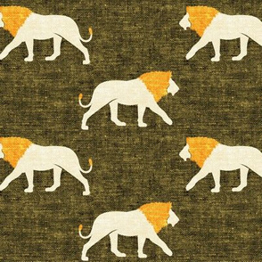lions on green - walking lions - LAD19