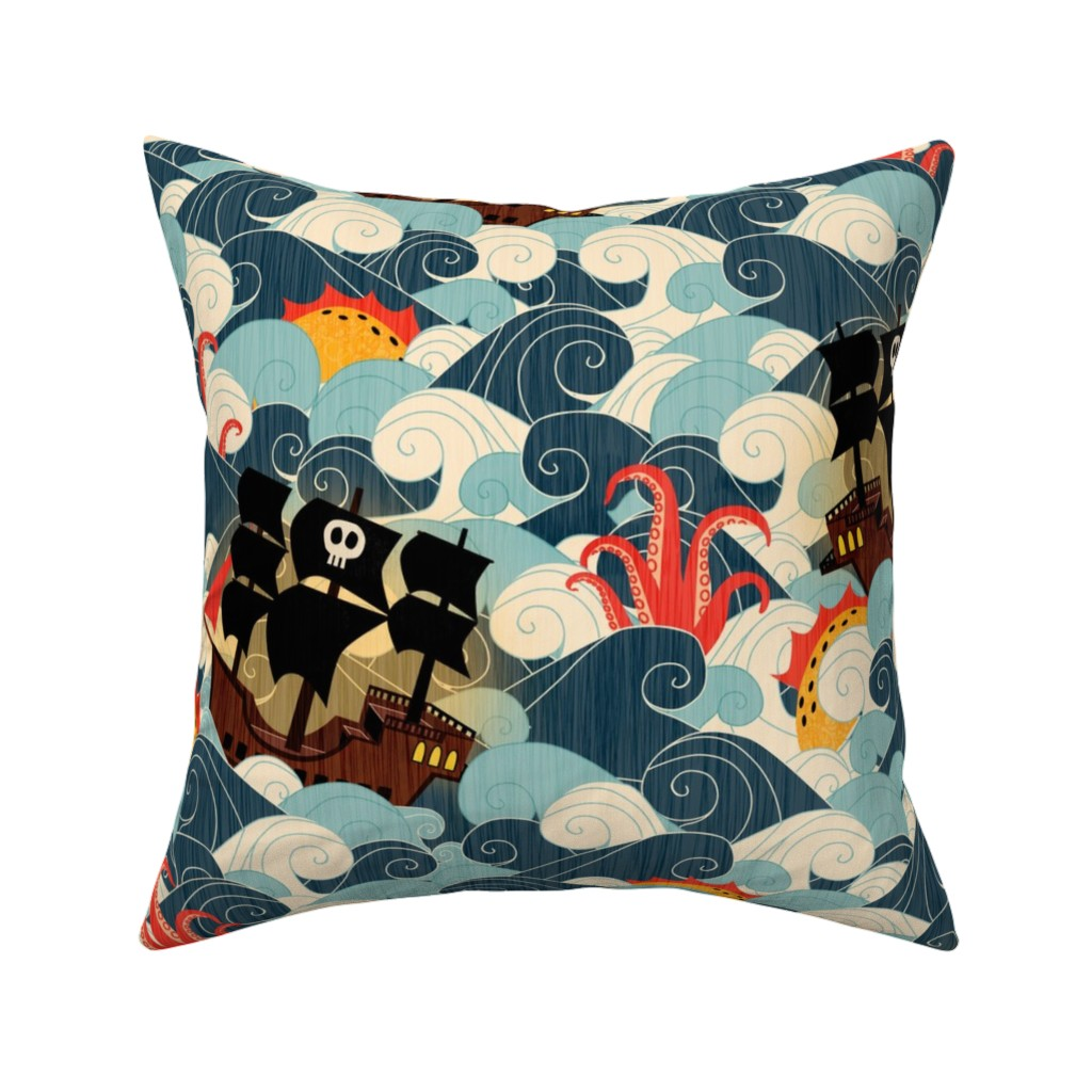 Catalan Throw Pillow featuring Pirate Ships in Rough Seas by happy_by_design