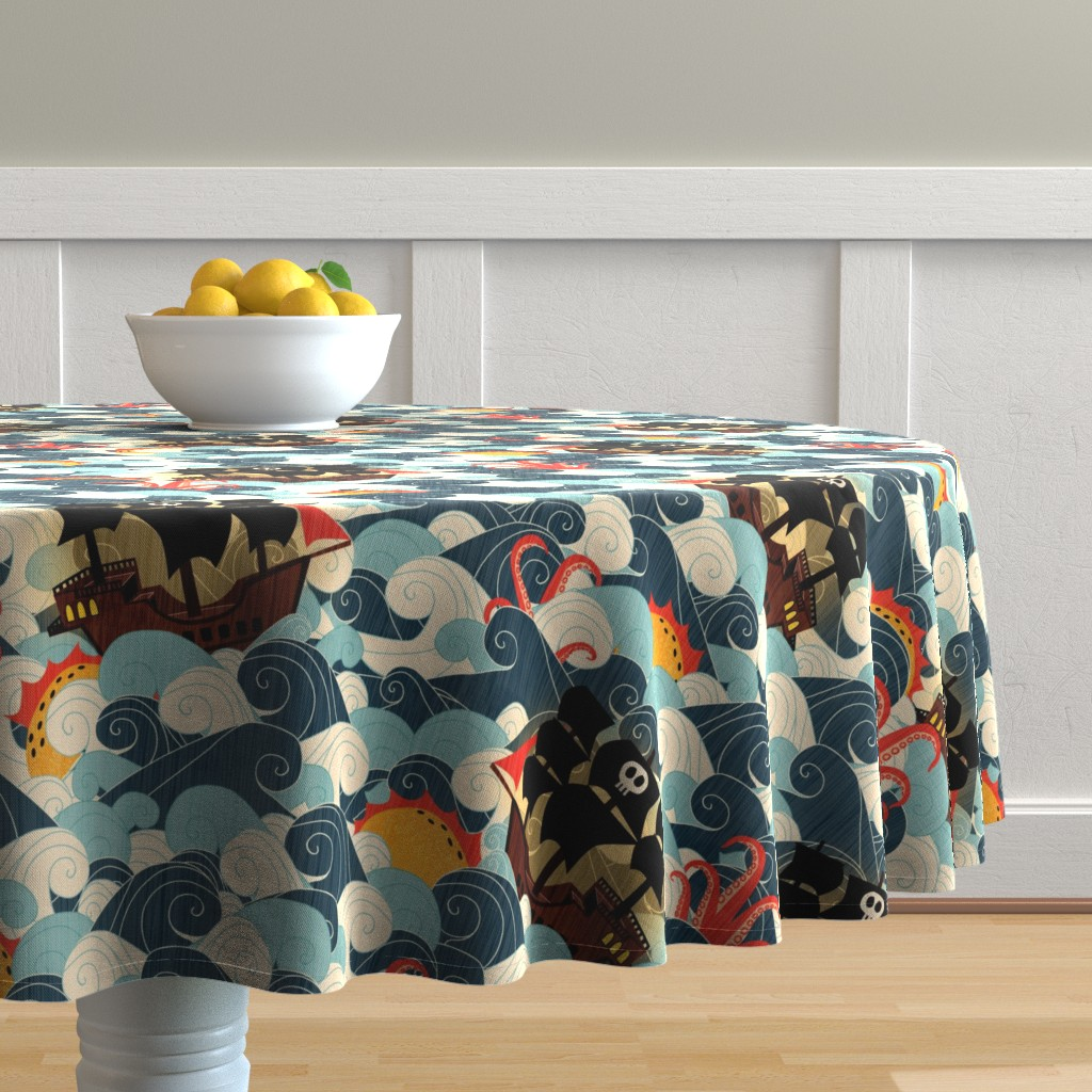 Malay Round Tablecloth featuring Pirate Ships in Rough Seas by happy_by_design