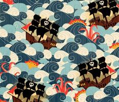 Pirate Ships in Rough Seas