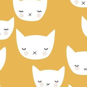 Sweet kitty kawaii cats smiling sleepy cat design in summer ochre yellow neutral nursery