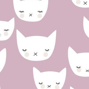 Sweet kitty kawaii cats smiling sleepy cat design in summer mauve lilac purple girls nursery