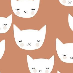 Sweet kitty kawaii cats smiling sleepy cat design in summer warm terracotta brown copper