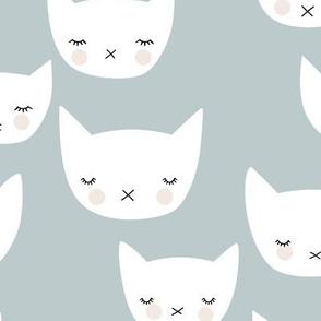 Sweet kitty kawaii cats smiling sleepy cat design in winter cool gray blue baby boy nursery