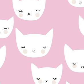 Sweet kitty kawaii cats smiling sleepy cat design in summer soft pink baby nursery girls