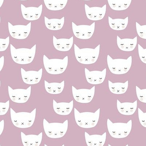Sweet kitty kawaii cats smiling sleepy cat design in summer mauve lilac purple girls nursery SMALL