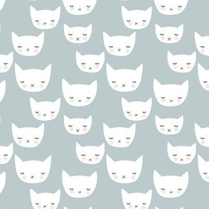 Sweet kitty kawaii cats smiling sleepy cat design in winter cool gray blue baby boy nursery SMALL