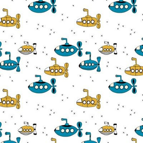 We all wanna live in a yellow submarine cute under water boats kids design mustard petrol blue SMALL
