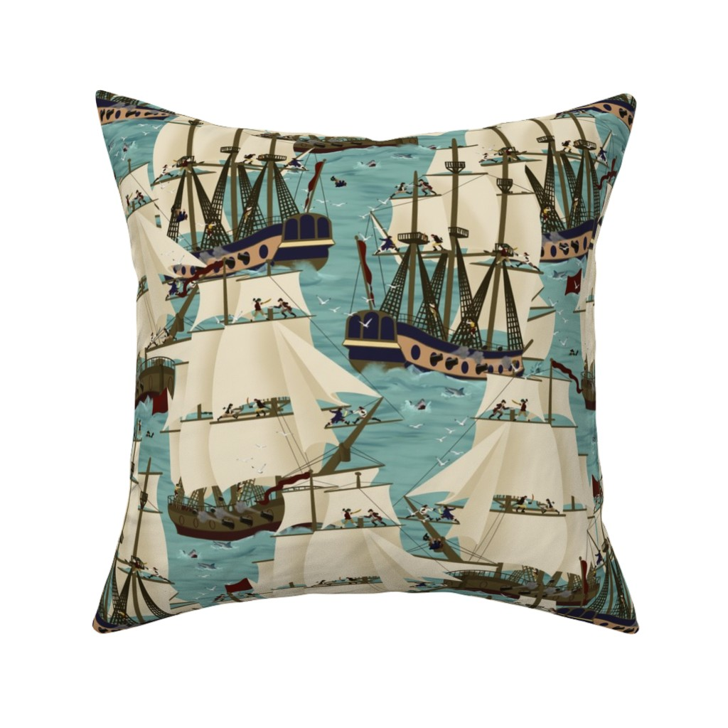 Catalan Throw Pillow featuring Pirates ahoy! by caz's_creations