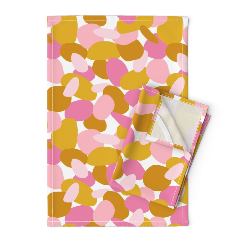 Orpington Tea Towels featuring Pebbles // Mustard & Pink by thewellingtonboot