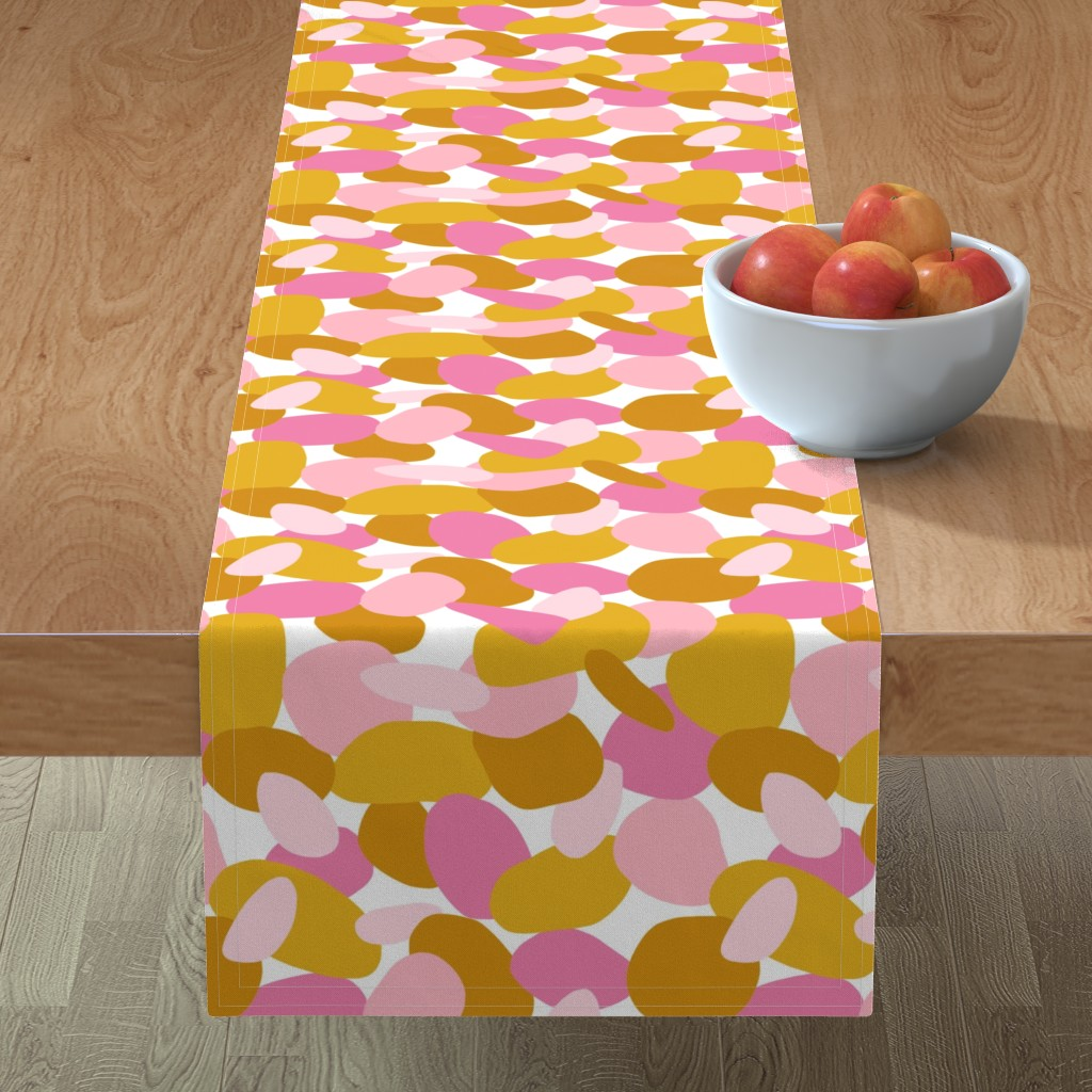 Minorca Table Runner featuring Pebbles // Mustard & Pink by thewellingtonboot