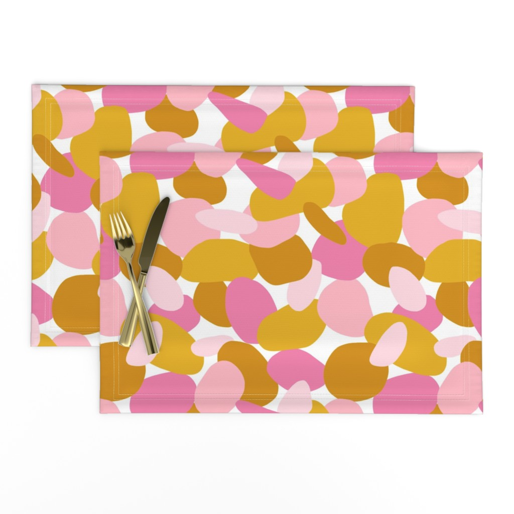 Lamona Cloth Placemats featuring Pebbles // Mustard & Pink by thewellingtonboot