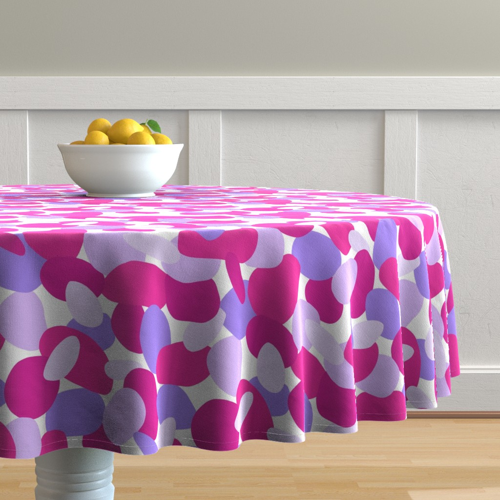 Malay Round Tablecloth featuring Pebbles // Pink by thewellingtonboot