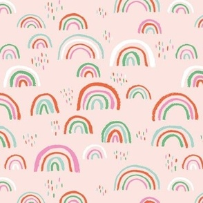 Rainbow love Scandinavian abstract rainbow clouds happy rain sky colorful kawaii pink green coral