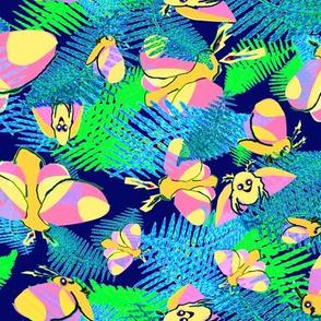 RosieMaple Moths Ferns2 bright nights navy