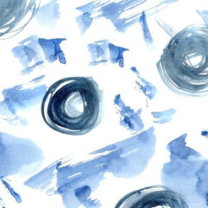 Indigo abstraction • watercolor painted pattern
