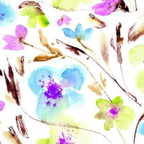 May in Miami • blue, purple, yellow • watercolor florals