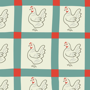 Retro Gingham Roosters