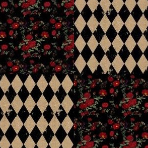 Burlap Harlequin and Roses Patchwork Cheater Quilt (large scale)