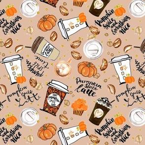 Coffee Fall Pumpkin Spice Latte on tan