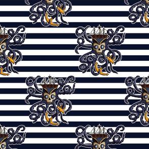 Blue Pirate Damask