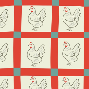 Retro-red-cream Gingham and Roosters