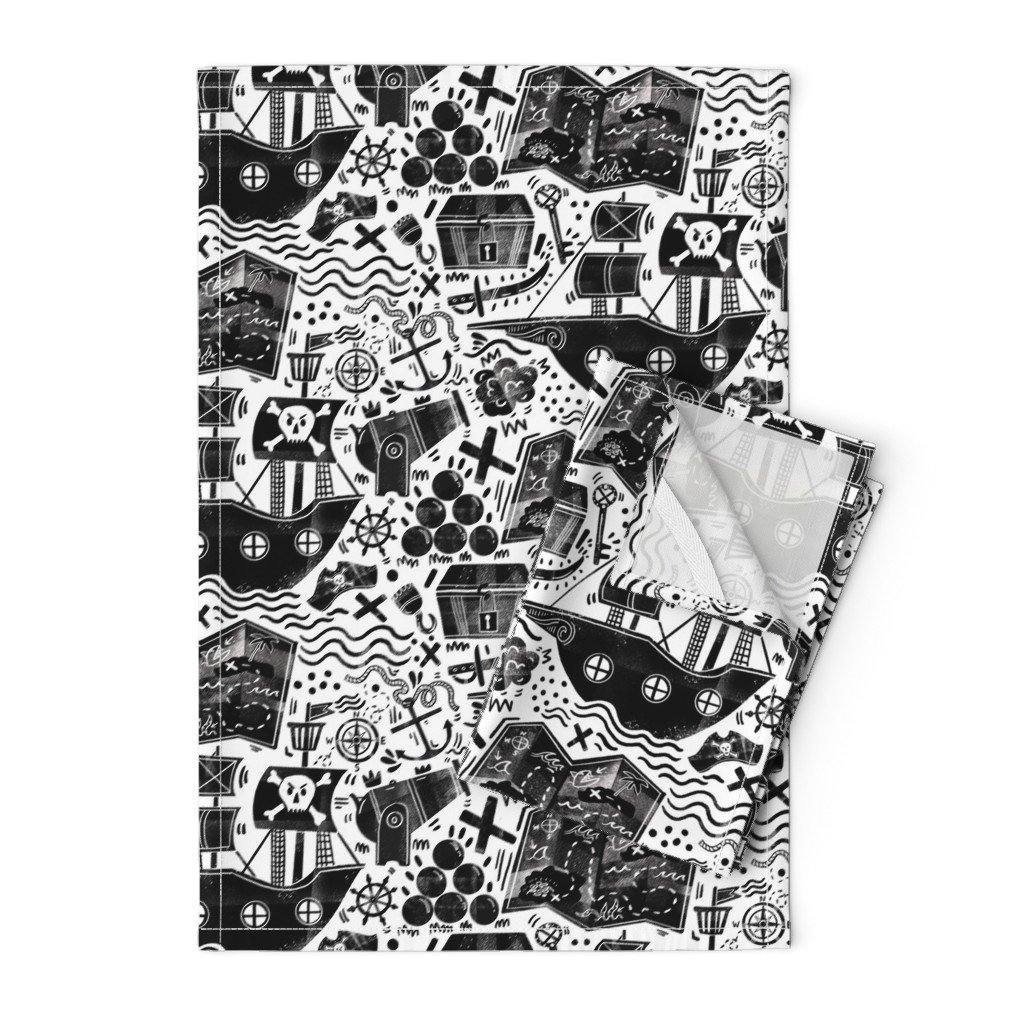 Orpington Tea Towels featuring Pirates Black and White  by gsonge