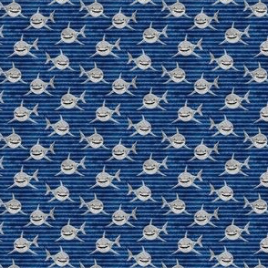 """(1/2"""" scale) Sharks on dark blue stripes - great white sharks - LAD19BS"""