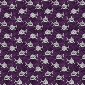 """(1/2"""" scale) Sharks on purple - great white sharks - LAD19BS"""