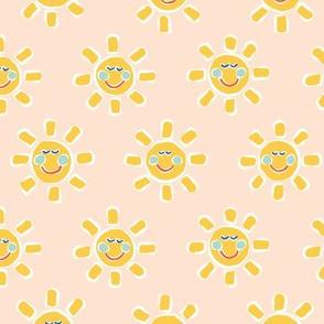 Smiley Sunshine on Blush Pink