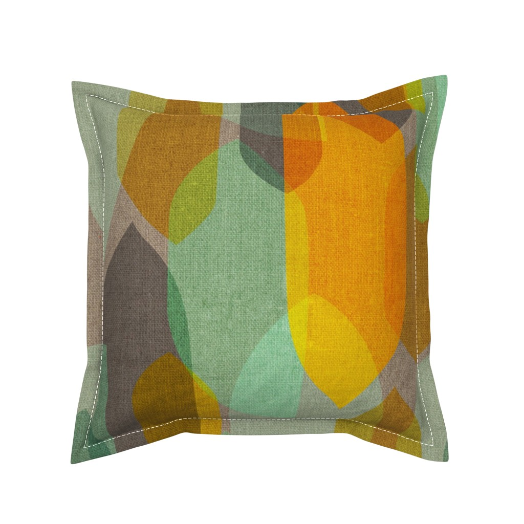 Serama Throw Pillow featuring Mid Century Colour Blocks {Mint/Gold} by ceciliamok