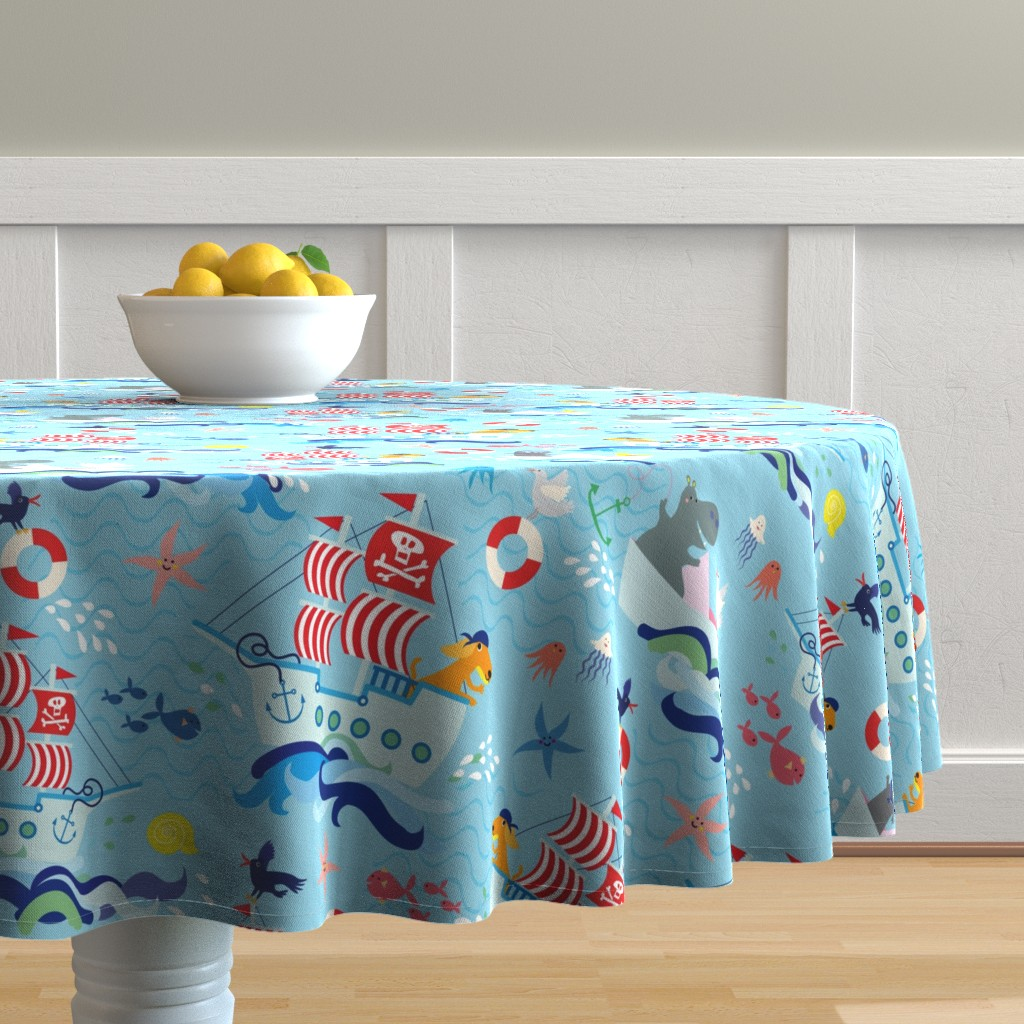 Malay Round Tablecloth featuring friendly animal pirates by miraparadies