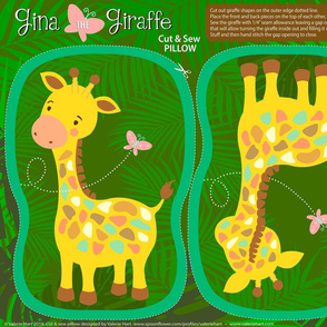 Gina The  Giraffe - Cut & Sew Safari Plushie Pillow
