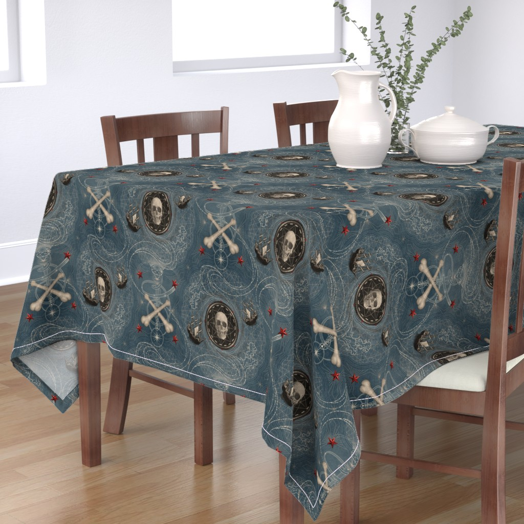 Bantam Rectangular Tablecloth featuring ★ PIRATES ★ Vintage Denim, Large Scale / Collection : Sailing the Seven Seas – Nautical Prints by borderlines