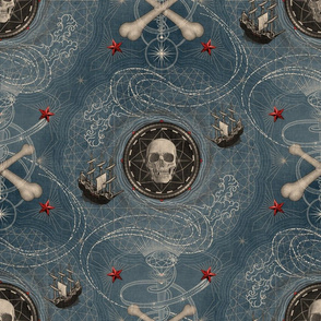 ★ PIRATES ★ Vintage Denim, Large Scale / Collection : Sailing the Seven Seas – Nautical Prints