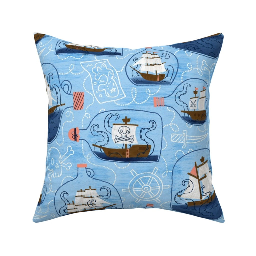 Catalan Throw Pillow featuring There's a Kraken in my Rum! by juliagreenillustration