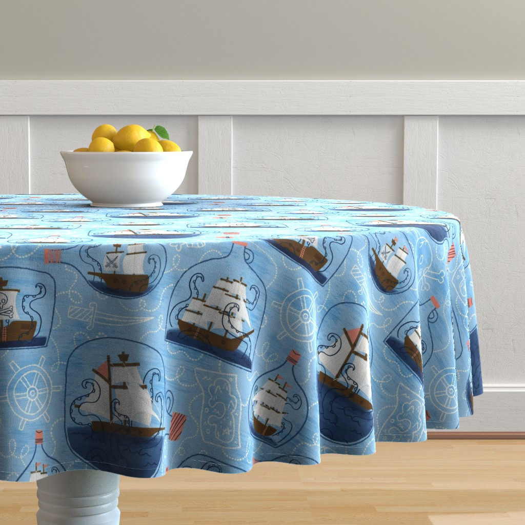 Malay Round Tablecloth featuring There's a Kraken in my Rum! by juliagreenillustration