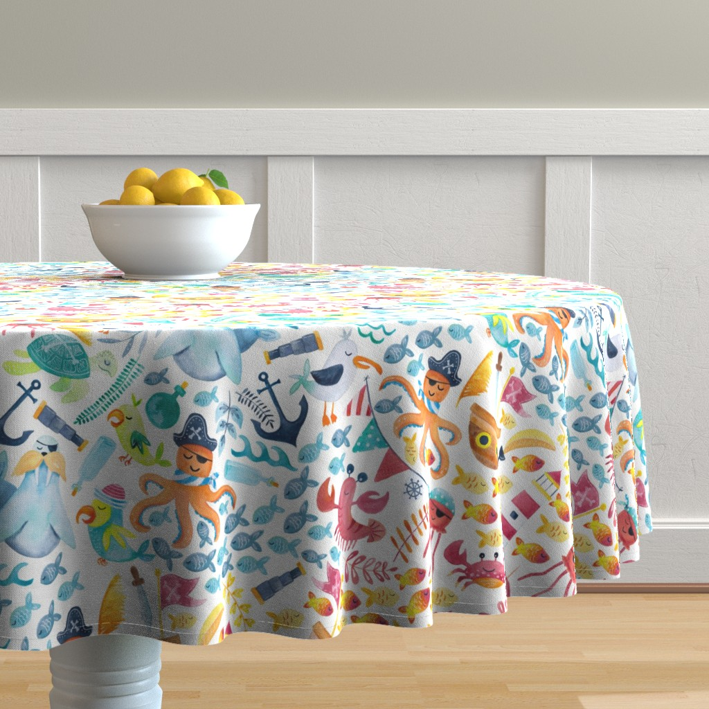 Malay Round Tablecloth featuring Pirate Pizzaz by gingerlique
