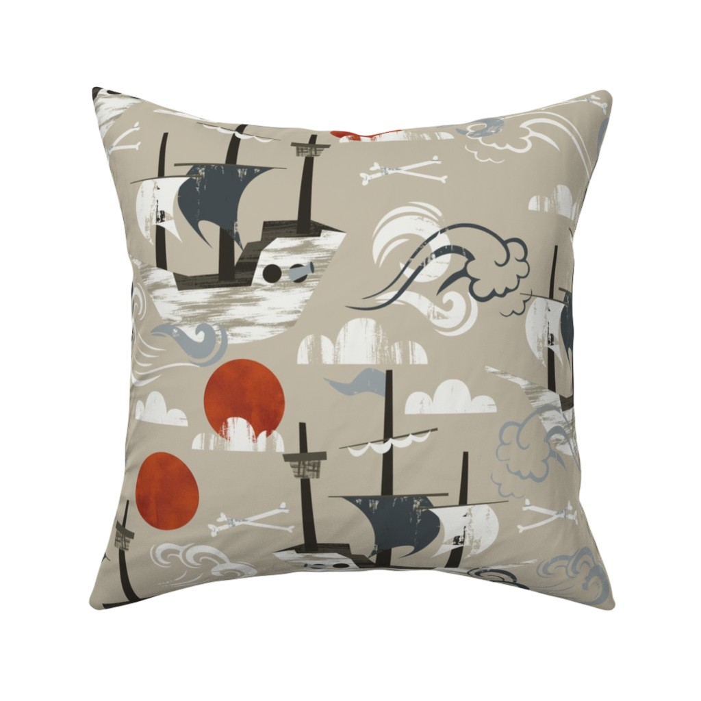 Catalan Throw Pillow featuring Ghost Ships by oliveandruby
