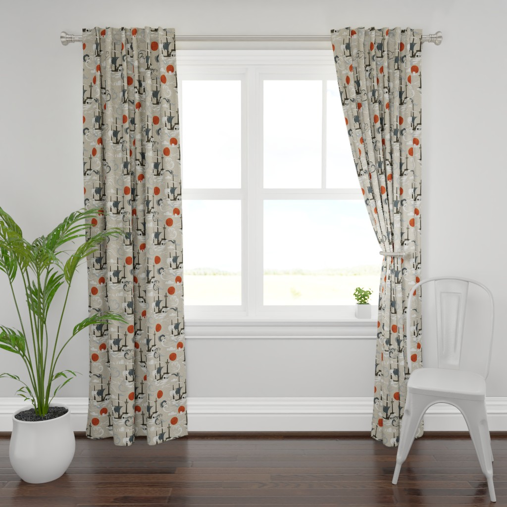 Plymouth Curtain Panel featuring Ghost Ships by oliveandruby