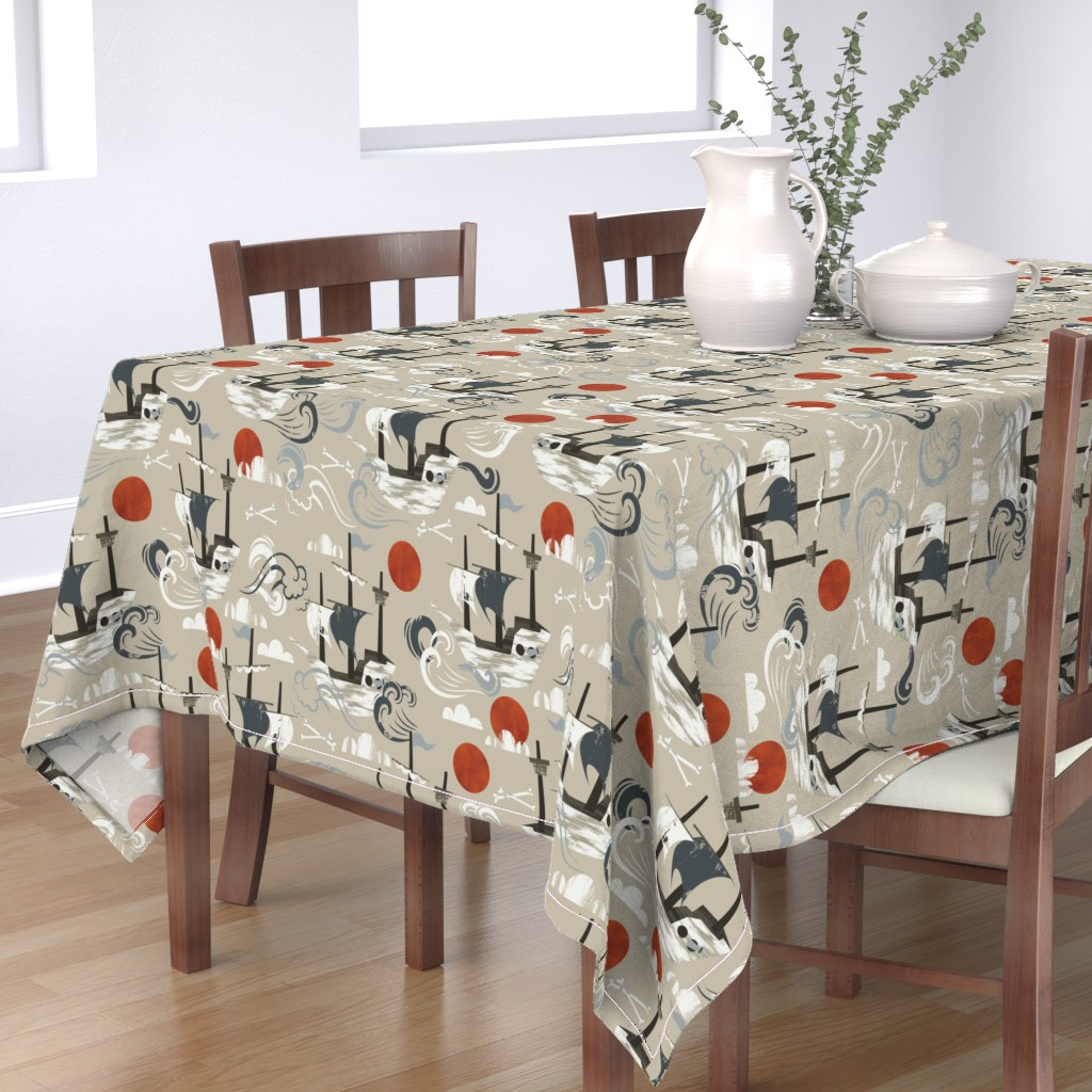 Bantam Rectangular Tablecloth featuring Ghost Ships by oliveandruby