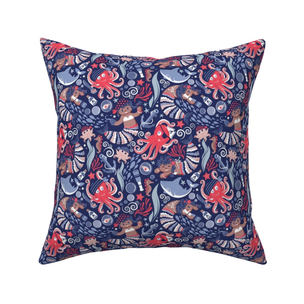 Catalan Throw Pillow featuring Pirates under sea // small scale // red octopus by selmacardoso