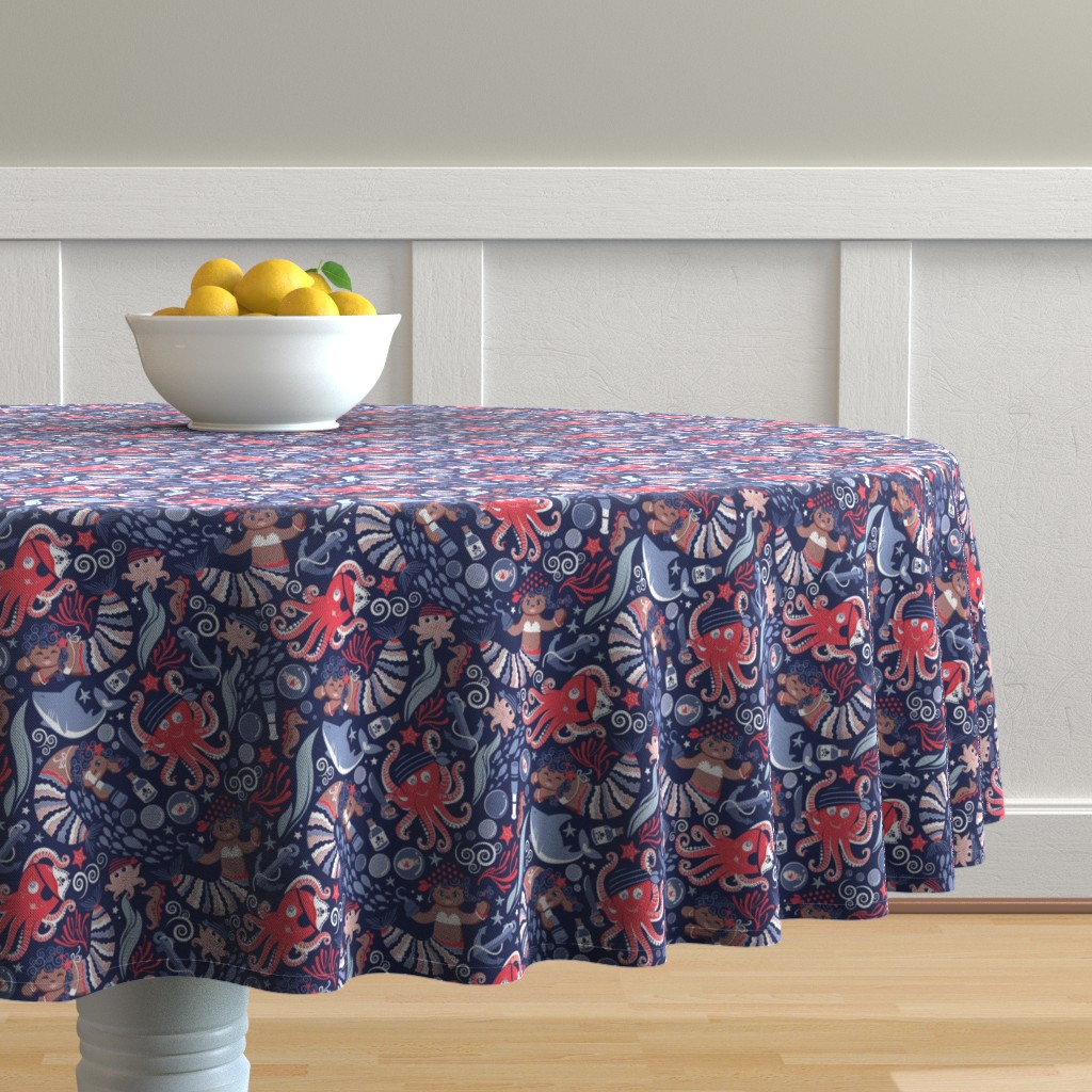 Malay Round Tablecloth featuring Small scale // Pirates under sea // red octopus by selmacardoso