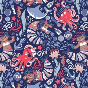 Small scale // Pirates under sea // red octopus