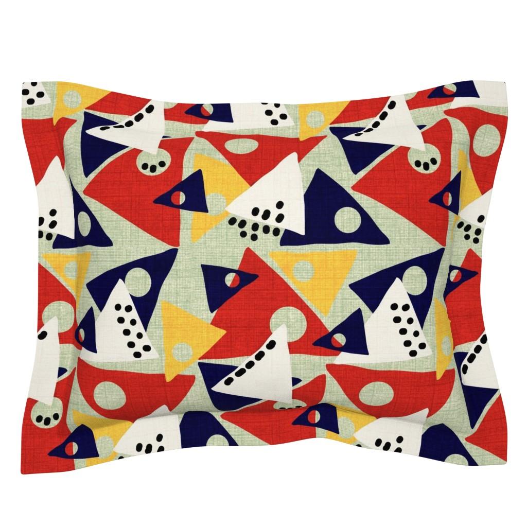 Sebright Pillow Sham featuring Color Block Tri-Mod / Linen Texture / Retro    by franbail
