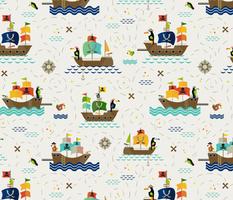 Saucy Toucan Pirates // © ZirkusDesign Cheeky Bird Blokes // Pirate Ships, Treasure Maps, Telescopes, Compass Rose, Boats, Waves, Flags, Sail, Diamonds, Gold, Ocean, Parrots