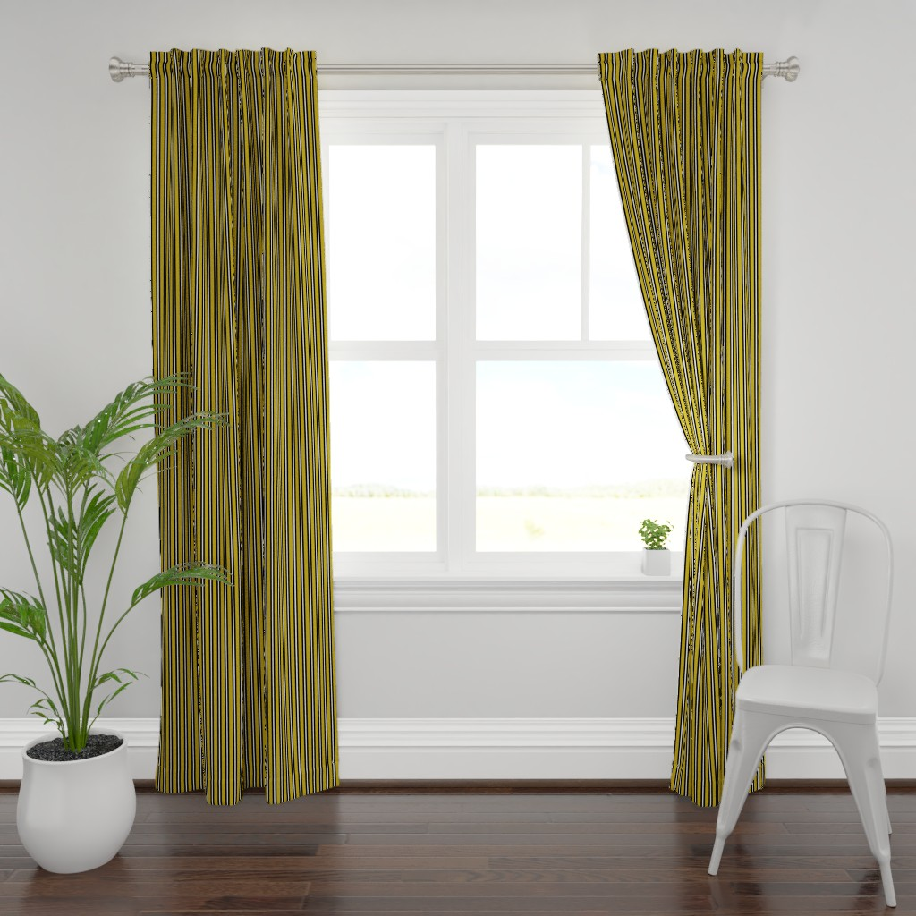 Plymouth Curtain Panel featuring Medium Black and White Stripes on Olive by kerri_lisa_